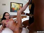 Tiny white glasses girl takes big dick. Raven, Raven Bay